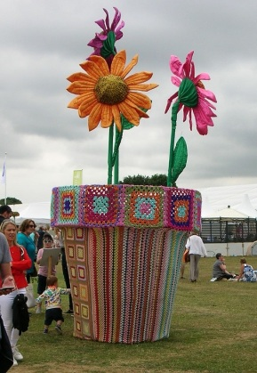 yarn bombed flower pot c
